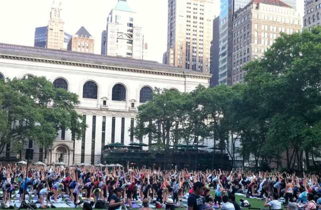 "So many yogis! A little bit of zen in the middle of midtown Manhattan. - ""The Best Free Summer Events in NYC"" - Two Traveling Texans"