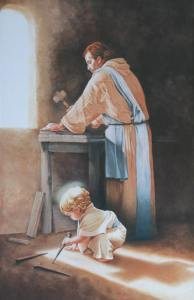 Jesus working with St. Joseph