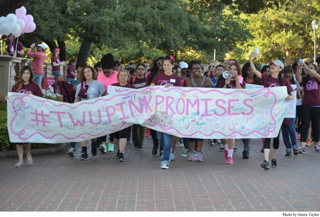 Members of the TWU community gather to walk in honor of those diagnosed with breast cancer.