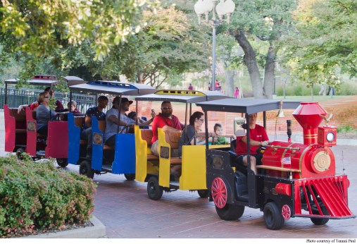 TWU students and Denton community members enjoy the festivities and fun rides during the 2014 Boo at the U festival.