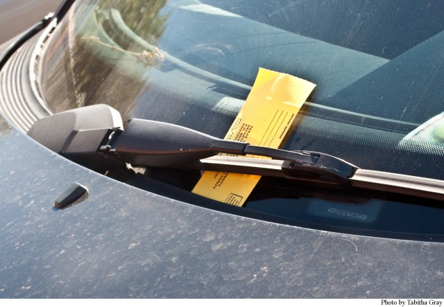 TWU Department of Public Safety regularly patrols campus parking lots ticketing illegally parked vehicles.