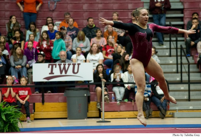 First-year Erin Alderman competes in the floor exercise rotation at Kitty Magee Arena.