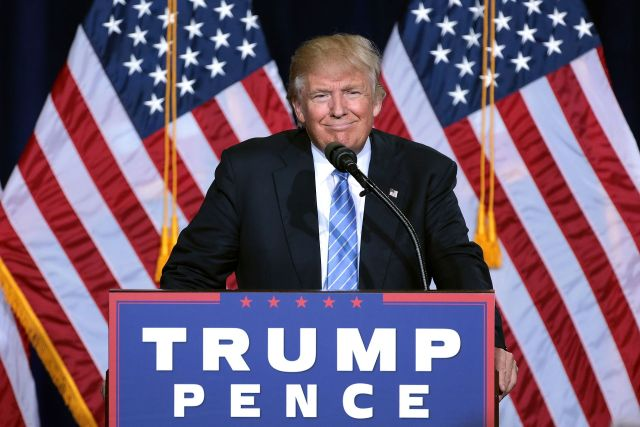 Donald Trump speaking at an immigration policy speech in Phoenix, Arizona.
