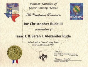 Image of the Greer County Certificate