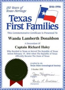 Texas First Families Certificate   Texas State Genealogical