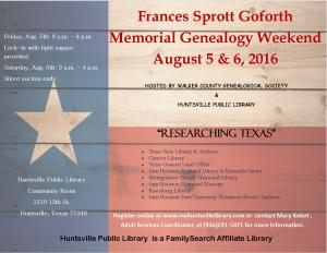 2016 Frances Sprott Goforth Memorial Genealogy Weekend