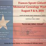 2016 Frances Sprott Goforth Memorial Genealogy Weekend