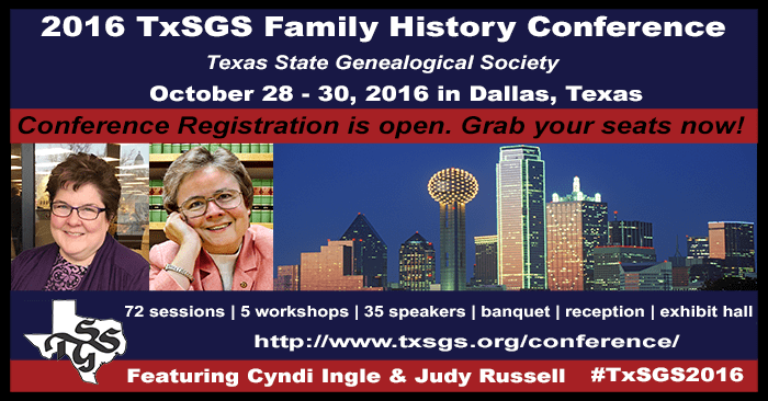 Promotional graphic for the TxSGS 2016 Family History Conference