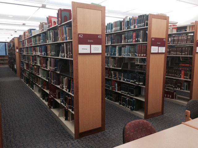 Photo of the Dallas Public Library Genealogy Stacks