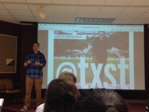 Jon-Stephen Stansel gives a summary of his job as Texas State's social media coordinator.