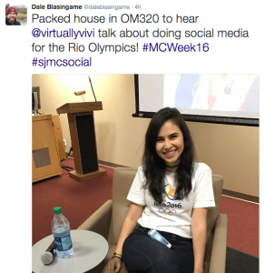 A tweet by Dale Blasingame, a Social Journalism Professor at Texas State University, shows Virginia Alves before her talk on working with the 2016 Rio Olympics Social Media team.