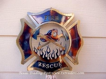 Fire And Rescue Firefighter Emblem Metal Art