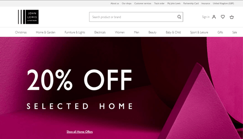 John Lewis and Partners is the famous online department store in the uk