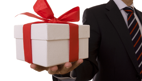 Offering gifts to major clients
