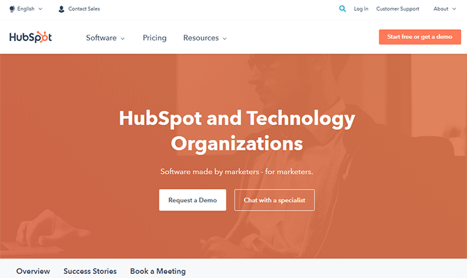 Hubspot SaaS software platform