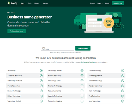 Shopify Business Name Generator