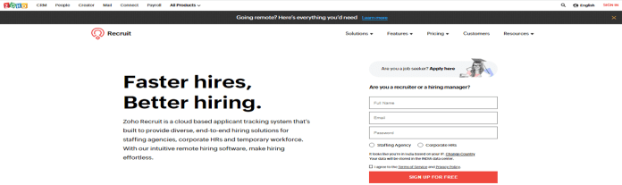 Best Applicant Tracking Systems Zoho Recurit - Finest ATS for staffing agencies