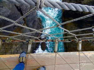 Looking straight down 100ft from the Carrick-a-Rede Rope Bridge in Northern Ireland