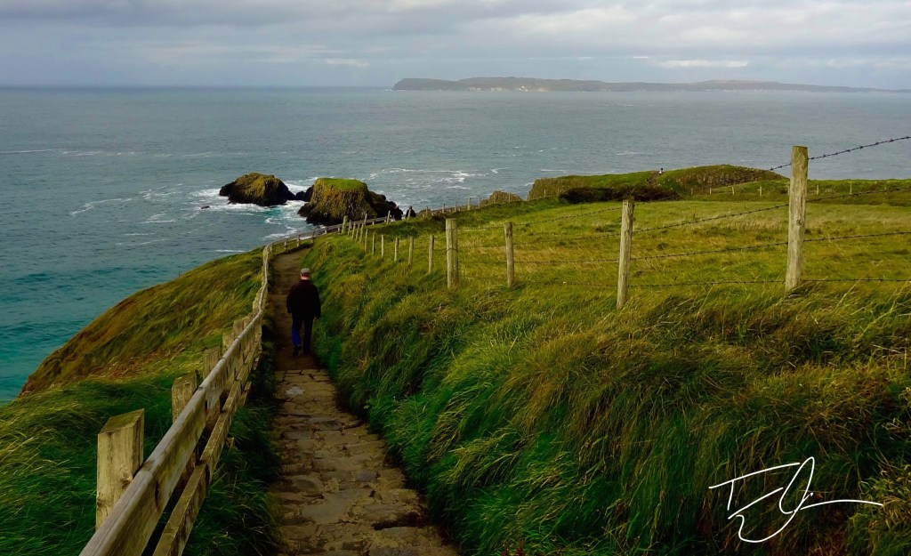 Pathway off of a cliffside near Carrick-a-Rede, Northern Ireland