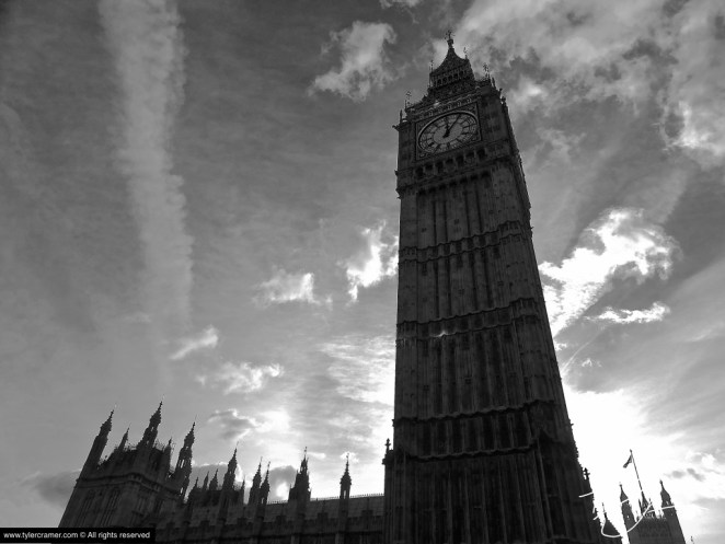 Black and White facade of Big Ben Clocktower in London, England