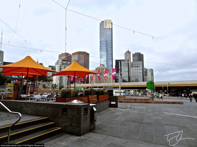 Looking at Skyling of Melbourne from Federation Square