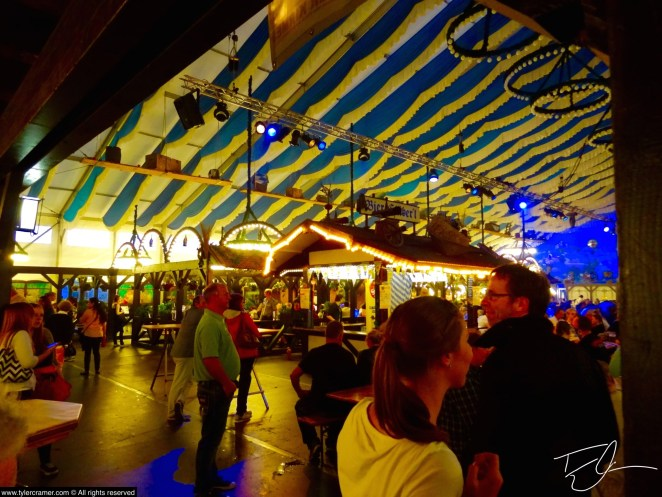 Blue and White tent during Oktoberfest. Munich, Germany