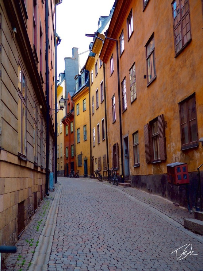Narrow street in stockholm sweden