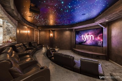 Custom Home Theater with Fiber Optic Star Ceiling, Sony 4K Projector, Dolby Atmos 7.2.4 Surround Sound, 2015 Salt Lake Parade of Homes, Salt Lake City, Utah