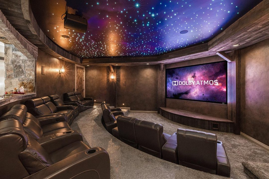 Finished theater, with custom fiber optic star ceiling.