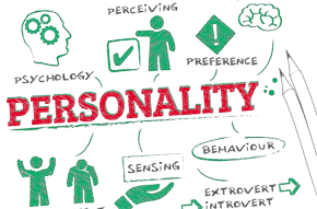 "A pencil drawing in red, green and black with the words 'Personality', ""Preference' and 'Behaviour' in it"