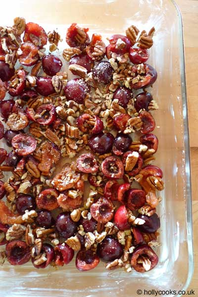 Holly-cooks-cherry-and-pecan-clafoutis-recipe-cherries-and-pecan-in-dish