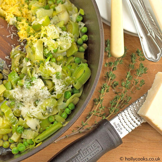 leeks, peas and parmesan