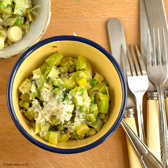 Holly cooks leeks peas and parmesan