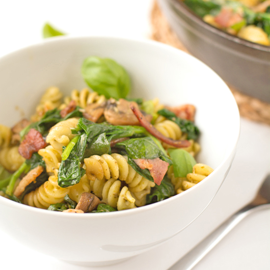 bacon, mushroom and pesto pasta