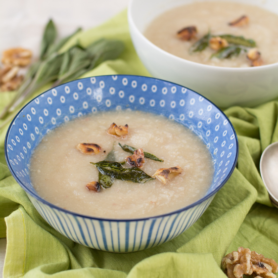 celeriac, sage and walnut soup