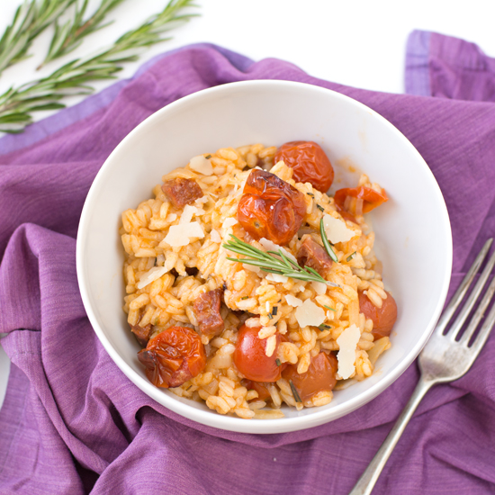 Chorizo-cherry-tomato-and-rosemary-risotto