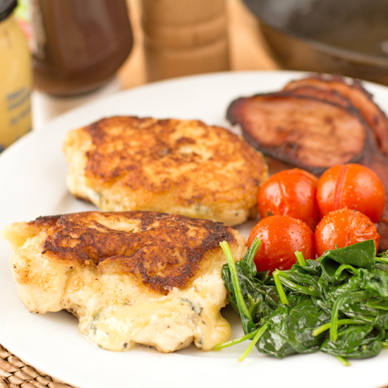 CHEESY POTATO CAKES WITH BACON, TOMATOES AND SPINACH