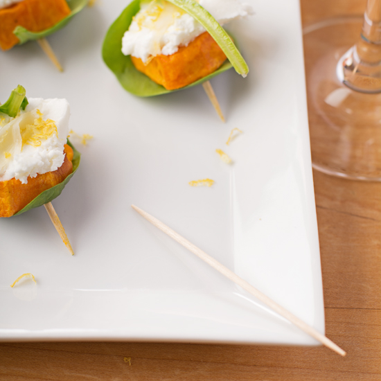 Sweet potato and goats cheese canapes