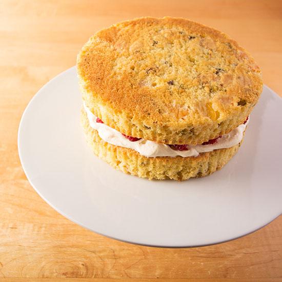 Apricot, raspberry and pistachio cake