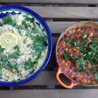 """Juliet Brown's Spicy vegetarian cassoulet with pistachio and coconut couscous. """"We have really enjoyed your flapjack and cassoulet recipes this weekend, thanks for posting them"""""""