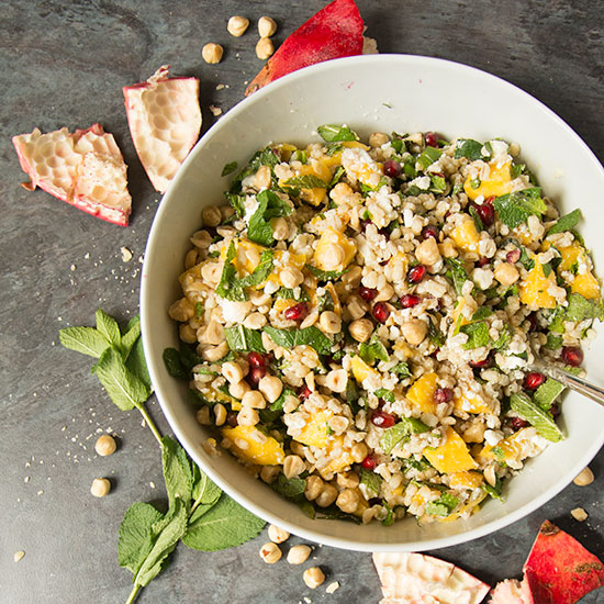 pomegranate, mango and pearl barley salad
