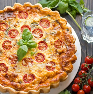 Parmesan, red onion and tomato tart