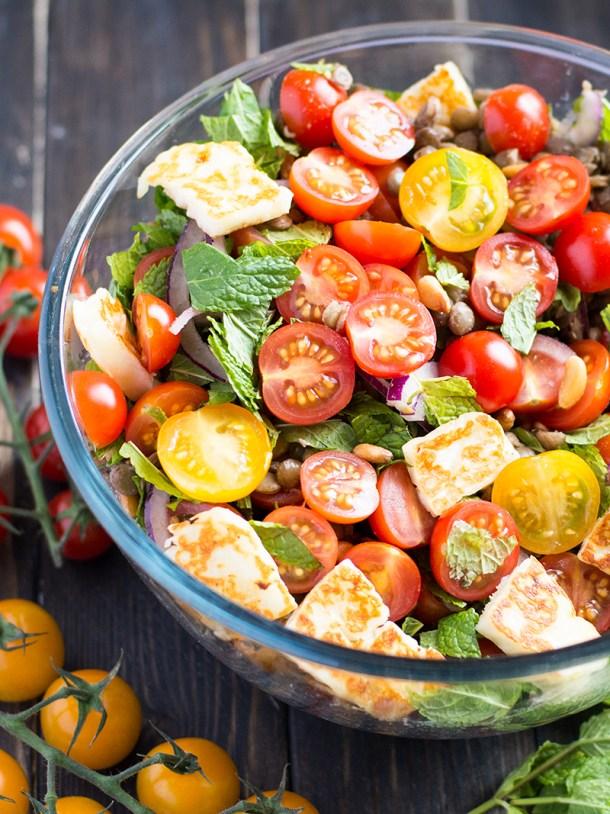 Mint, halloumi and green lentil salad