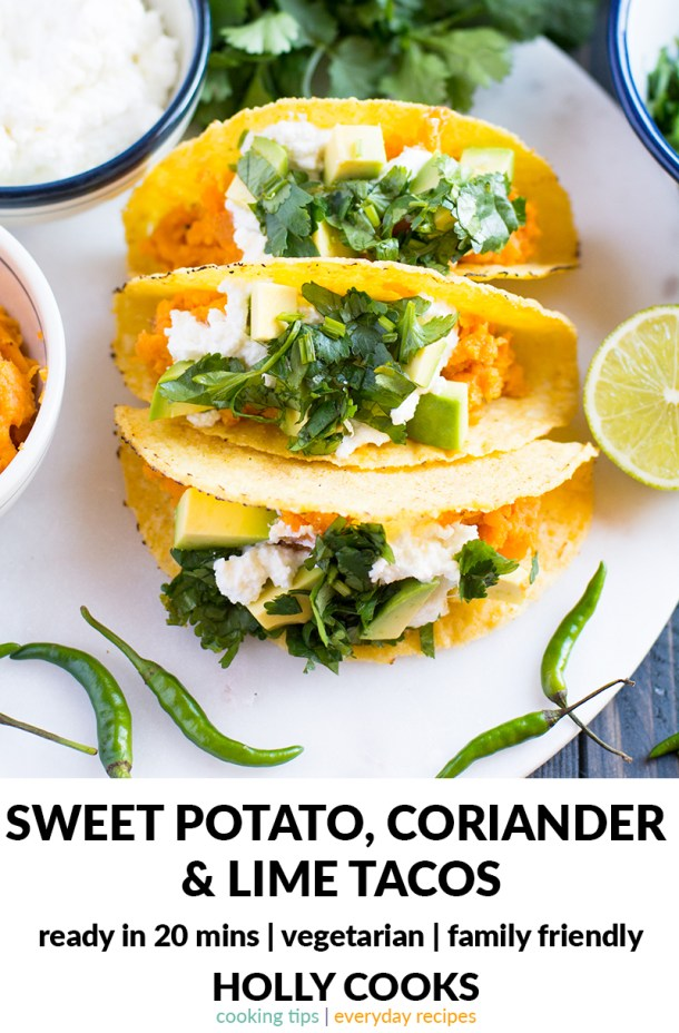 Sweet potato, coriander and lime tacos | 20 minutes recipe | easy recipe | midweek recipe | everyday recipe | sweet potato | coriander | chilli | lime | ricotta | family friendly recipe | recipe to eat with kids | healthy recipe |