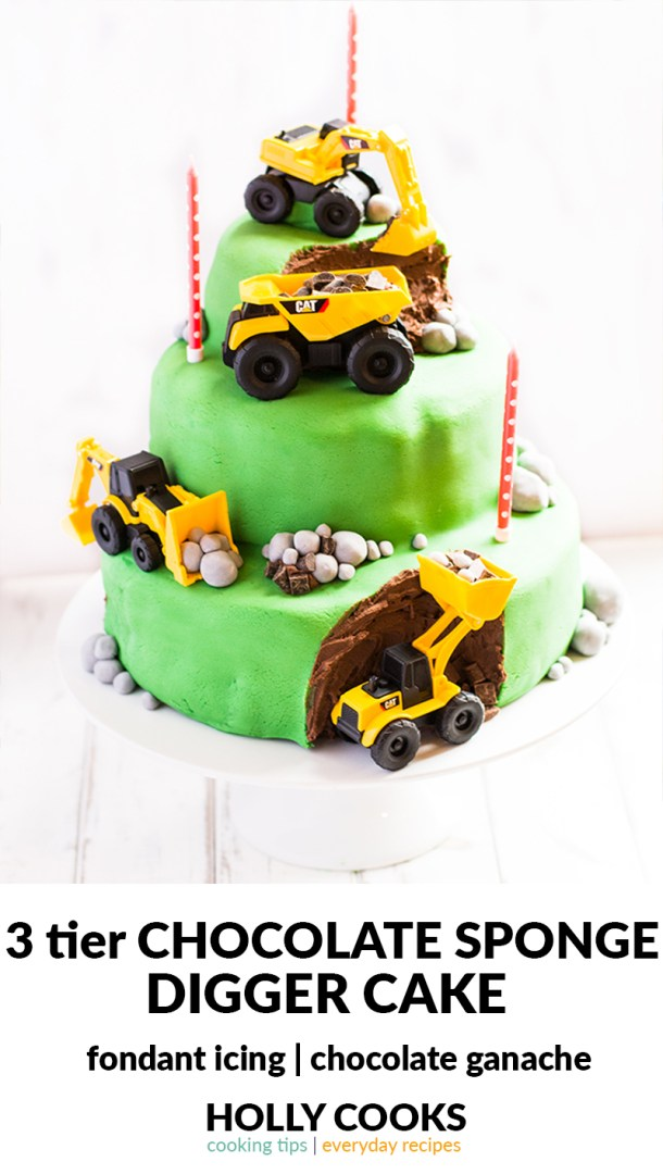 A 3 Tier Chocolate Sponge Digger Birthday Cake Covered In Ganache And Fondant Icing
