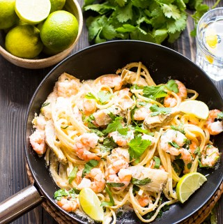 Prawn and artichoke heart pasta