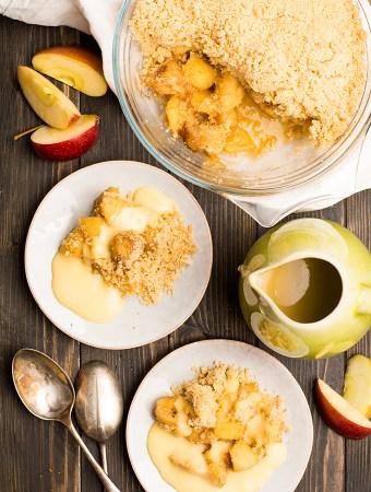 Caramalised apple and banana crumble