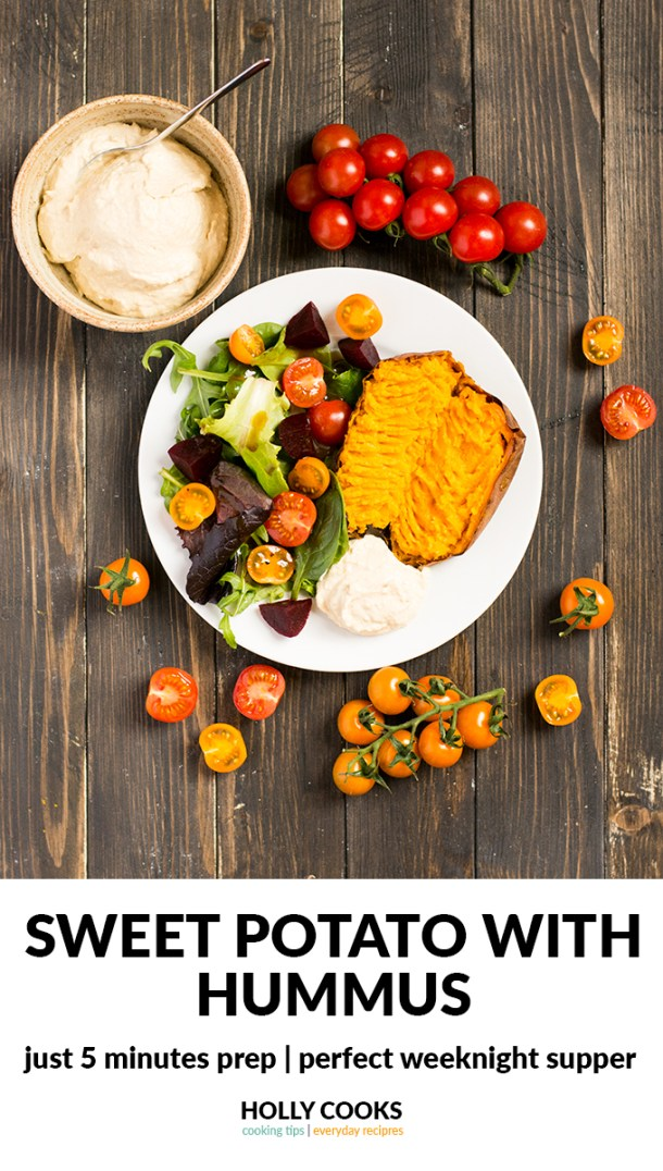 sweet potato with hummus, sweet potato, baked sweet potato, hummus, houmous, hommmous, humous, houmous, salad, cherry tomatoes, quick supper, easy supper, easy dinner, quick dinner, 5 mins prep recipe, weeknight supper, weeknight dinner, potato, baked potato, jacket potato, jacket sweet potato,
