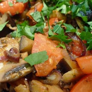 Italian aubergine, mushroom and tomato recipe