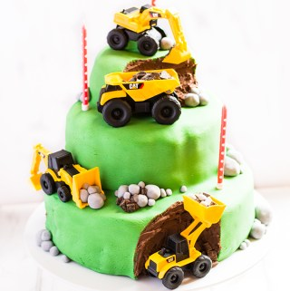 Digger Birthday Cake – 3 tier chocolate sponge with chocolate ganache and fondant icing